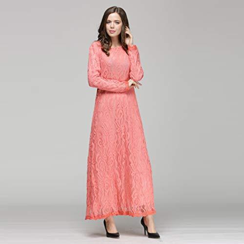 polpqed Abito Dress Casuale Estate Puro Musulmano Donna Etnica Vestito Lunga Colore Manica Rosa Pizzo Lungo Semplice wkXn0O8P