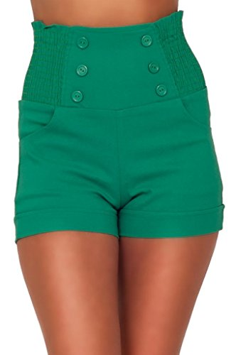 High-Waisted-Sophisticated-Trendy-Chic-Front-Button-Vintage-Inspired-Shorts