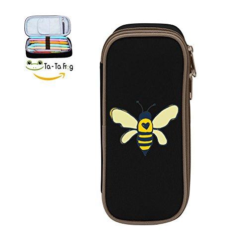 KuenT Honey Bee Students' Large Pencil Bag Pen Case Pouch DIY Holder Stationery Black (Fbv Bag)