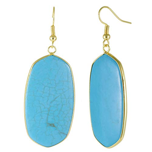 TUMBEELLUWA Crystal Quartz Stone Dangle Hook Earrings Oval Gold Plated, Blue Howlite Turquoise ()
