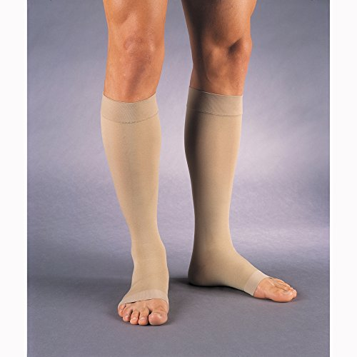 (JOBST Relief Knee High 15-20 mmHg Compression Stockings, Open Toe, Large, Beige)