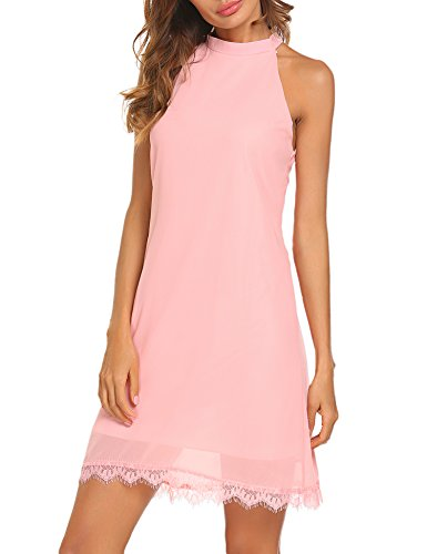 Sherosa Women's Halter Neck Sleeveless Lace Trim Loose Shift Mini Casual Dress (M, Pink)