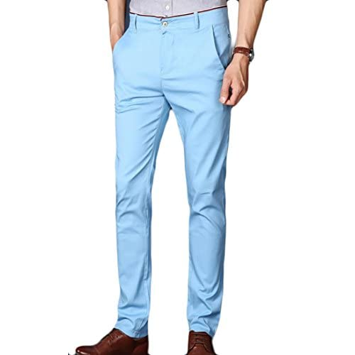 cb9f636fec Yayu Mens Casual Twill Solid Color Straight Slim Fit Flat Front Chino Pants  3 38 free