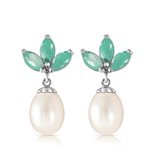 95-CTW-14k-Solid-White-Gold-Freshwater-cultured-Pearl-Earrings-with-Natural-Emeralds