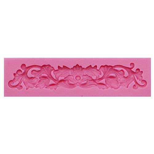 Funshowcase Sugarcraft Cake Decoration Embellishment Artwork Border Shape Enhanced Lace Fondant Gum Paste Pastry Silicone Mold 13.7x3.7x1cm