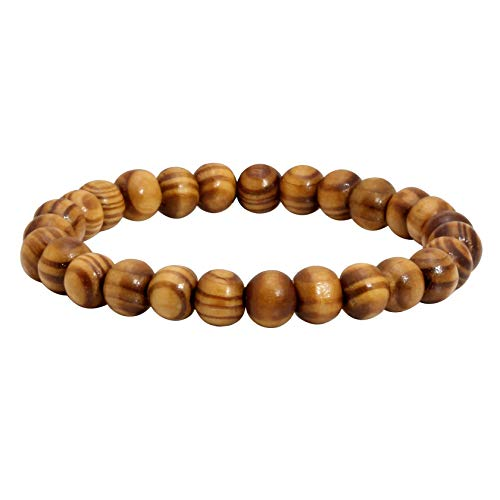 (MILAKOO Mens Womens 8mm Brown Wood Beads Bracelet Stretchable Tibetan Beads Buddhist Prayer Mala)