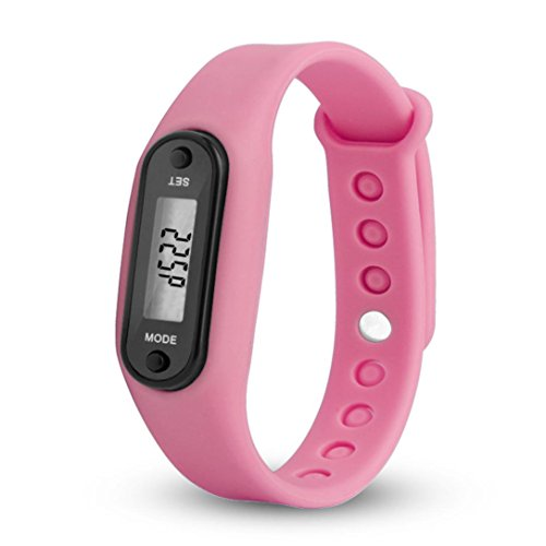 Digital Pedometer Sport Watch,Tuscom Run Step Watch Bracelet Pedometer Calorie Counter Digital LCD Walking Distance (Pink) ()