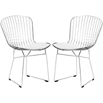 Poly and Bark Bertoia Style Wire Dining Chair, White, Set of 2