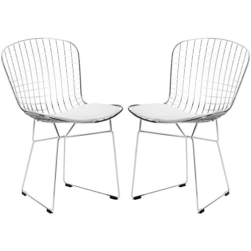 Harry Bertoia Side Chair (Poly and Bark Morph Side Chair in White (Set of 2))