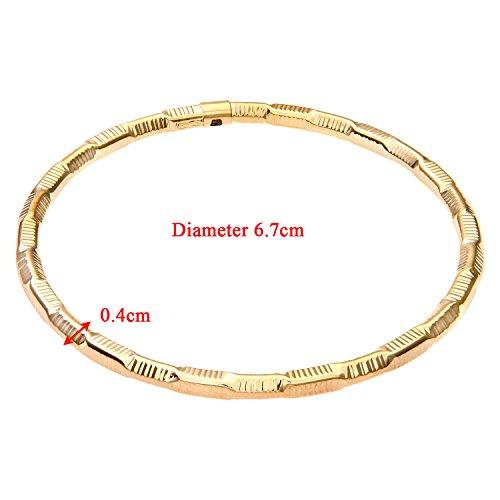 Revoni Bague en or jaune 9carats, Coupe Diamant, texturé de bracelet de 6,7cm de diamètre