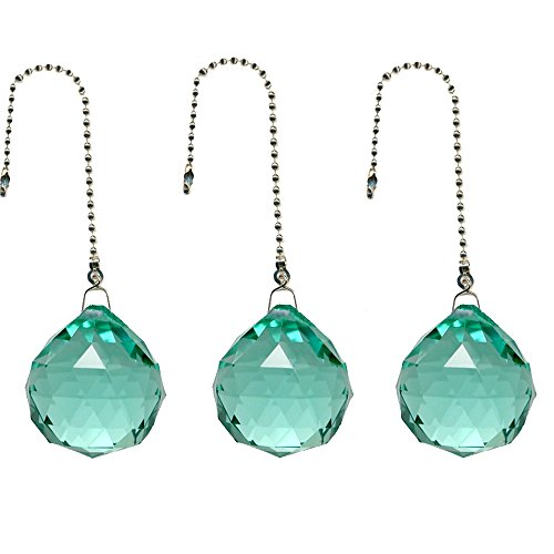 Gusnilo Magnificent Crystal 20mm Crystal Ball Prism 4 Pieces Dazzling Crystal Ceiling FAN Pull Chains (Emerald)