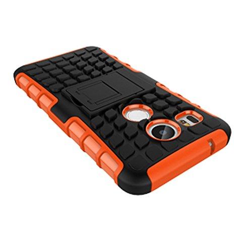 LG Nexus 5X Funda,COOLKE Duro resistente Choque Heavy Duty Case Hybrid Outdoor Cover case Bumper protección Funda Para LG Nexus 5X - verde naranja