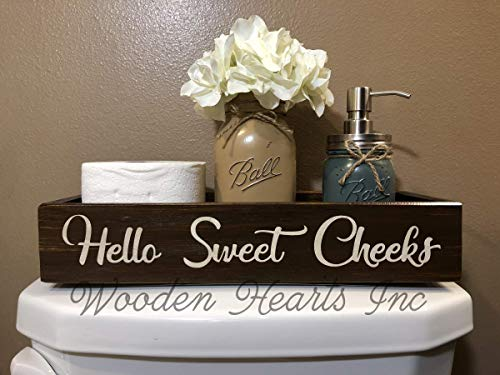 (HELLO SWEET CHEEKS BATHROOM TRAY *Quart Ball Mason Canning Jar, Flower, Soap Dispenser are OPTIONAL *NICE BUTT *BLESSINGS Distressed Wood Box *Decor for toilet, counter, kitchen table 15.75