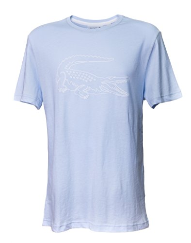 Lacoste Men's Short Sleeve Croc Graphic Regular Fit T-Shirt (Light Blue) - Eyewear Elegance