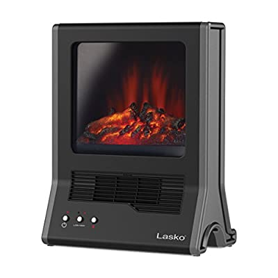 Space Saving Design Ultra Ceramic Portable Fireplace 1500W Black Heater