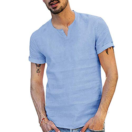 MmNote mens clothes clearance sale, Men's Summer Fashion Cap and Solid Color Vest Comfortable Blouse TopShort Sleeve T-Shirt Blue