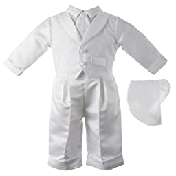 Lauren Madison baby boy Christening Baptism Infant Vest Set With Satin Pants, White, 0-3 Months