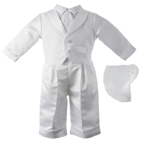 Lauren Madison Baby boy Christening Baptism Infant Vest Set With Satin Pants