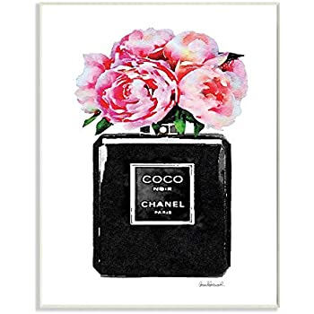 The Stupell Home Décor Collection Glam Perfume Bottle Flower Black Peony Pink Wall Plaque Art, 10 x 15