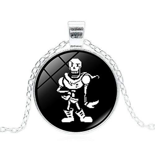 Undertale Sans 2 Game Glass Dome Cabochon Pendant Necklace Handmade Jewelry Silver Chian Necklace Women Men