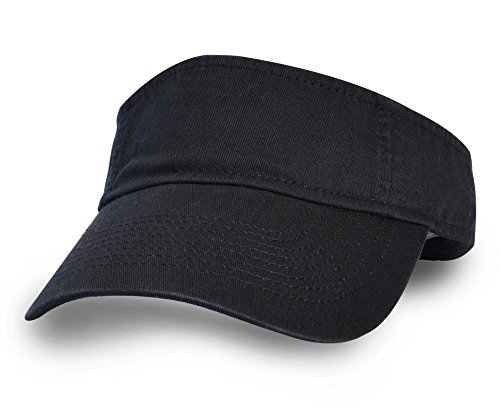 Cotton Twill Visor - KC Caps Unisex Washed Cotton Twill Solid Sports Sun Visor Hat Black