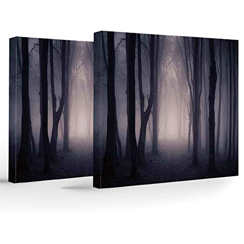 Canvas Art Prints,Canvas Art with Frame,Farm House Decor,Stretched and Framed Canvas Print,Path Through Dark Deep in Forest with Fog Halloween Creepy Twisted Branches Picture -