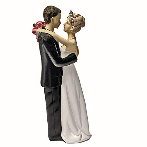 (Wonderful Bride and Groom Tender Moment Wedding Couple Cake Topper)