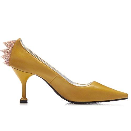 DecoStain Damen Durchgängies Plateau Sandalen mit Keilabsatz Gelb