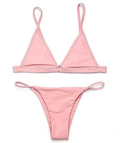 RELTANGL Women's 2 Pcs Bikini Triangle Top Brazilian Bottom Swimwear Bikini Set(Bare Pink, L(US 6-8))