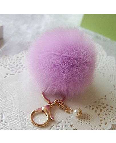 Fullkang Cute Rabbit Fur Ball Keychain Bag Plush Car Key Ring Pendant (Purple) (Keychain Plush)