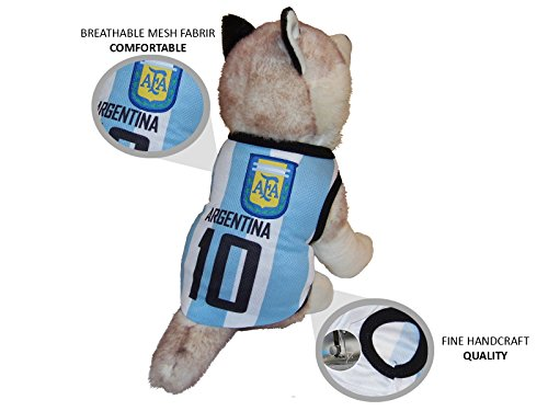 JerzeHero Dog Soccer Jersey ✓ All National Teams ✓ Hand Crafted Superior Quality ✓ 100% Polyester Breathable Fabric Comfort Technology ✓ All Dog Sizes XL L M S XS (Argentina, (Haloween Costumes For Dogs)