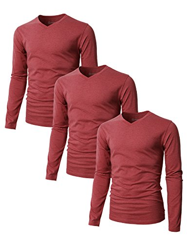 Long Dirt Sleeve Funny - H2H Mens Basic T-Shirts with V-Neck Long Sleeve MAROON US L/Asia XL (SET3KMTTL0374),3 pack