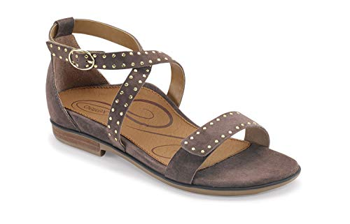 Aetrex Hailey Womens Leather Adjustable Orthotic Sandals - Deep Taupe - 40 (US 9-9.5)
