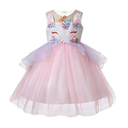 LZH Girls Unicorn Costume Dress Flower Princess Birthday Party Pageant Dress with Hairband]()