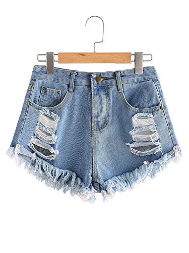 UUpipa Women's Juniors Mid Waist Destroyed Fray Hem Denim Shorts (Blue2, L)