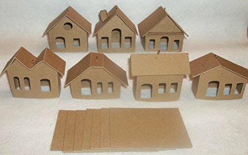 Mini Cardboard Putz Style Houses- Set of 7 DIY Houses - With Ornament Hooks Small Chipboard House