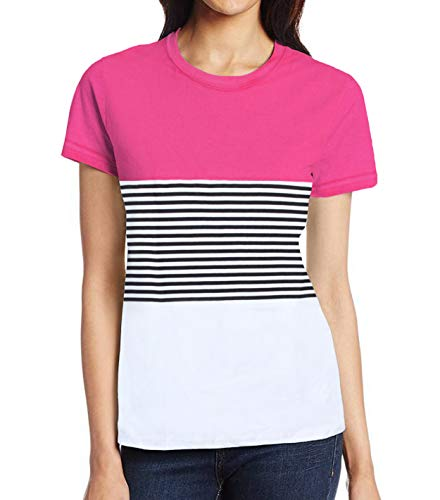 (Pink Striped Shirt for Women - Adult Womens Spring Stripe Pink White Top (S))