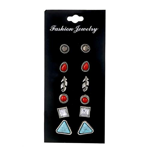 HUGJOU 6Pairs/Set Retro Green Stone Stud Earring Sets Mixed Leaf Square Triangle Round Steampunk Party Earring For Women Jewelry
