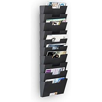 magazine holder rack black steel material wall mount 10 sectional vertical file organizer modular multiuse display