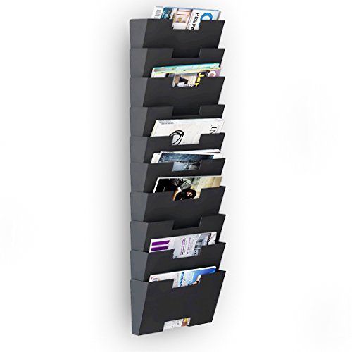 Magazine Holder Rack Black Steel Material Wall Mount 10 Sectional Vertical File Organizer Modular Multiuse Display Also Good for Literature File and Magazine (Holder Magazine Steel)