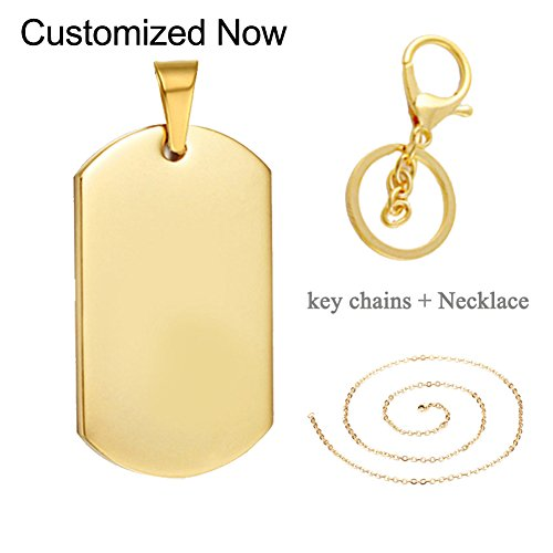 LiFashion LF Mens Womens Stainless Steel Personalized Nameplates Military Dog Tag Necklace Key Ring,Free Engraving Customized Pendant Keychain for Engagement Birthday Gift,Gold