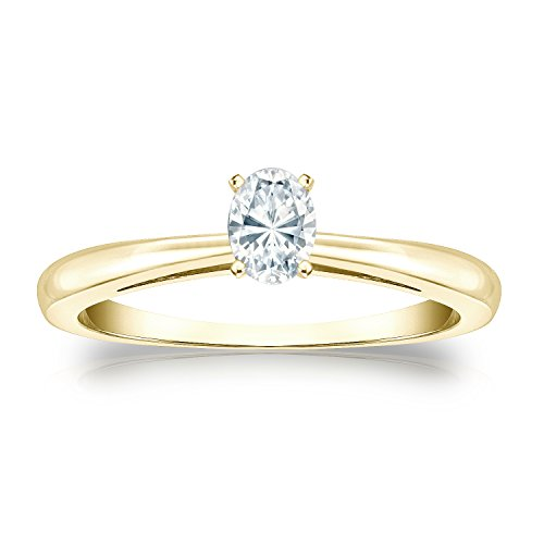 14k Yellow Gold Oval Diamond Simulant CZ Solitaire Ring 4-Prong(1/4 ct,Excellent (Four Prong 14ky Gold Solitaire)