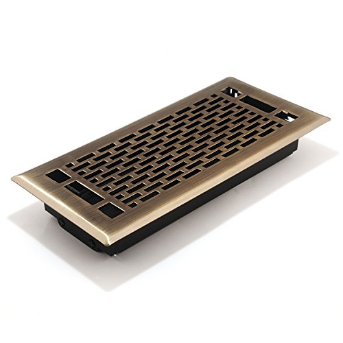Accord AMFRABMA410 Manhattan Floor Register, 4-Inch x 10-Inch(Duct Opening Measurements), Antique Brass - 10 Antique Brass Floor Register