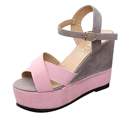 - HOSOME Women Wedges Sandals Shoes Mixed Color Buckle Peep Toe Casual Loafers Pink