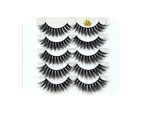 2019 NEW 5 pairs Mink Eyelashes 3D False lashes Thick Crisscross Makeup Eyelash Extension Natural Volume Soft Fake Eye Lashes,5pairs,115