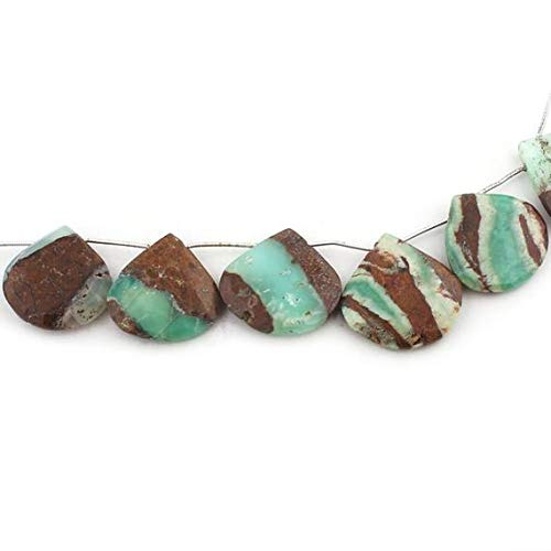 GemAbyss Beads Gemstone 1 Strand Natural Bio Chrysoprase Faceted Briolettes - Heart Shape Beads 27mm-29mm 8 Inches Code-MVG-15334
