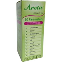Easy@Home Areta 10 Parameter (10SG) Urinalysis Reagent Test Strips, 50 Strips/Bottle