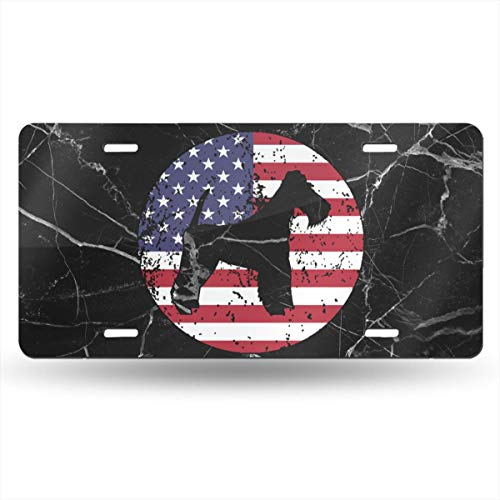 WI8Q-1 American Flag Fox Terrier Car Tag Decorative Front Plate 6
