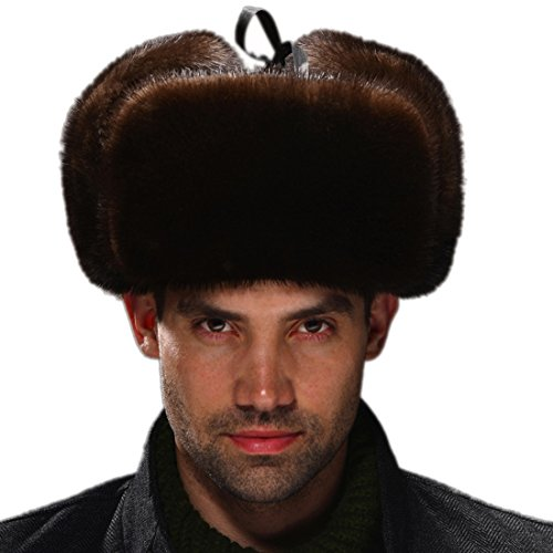 URSFUR Men's Otter Fur & Leather Russian Ushanka Hats (One Size, Coffee) by URSFUR