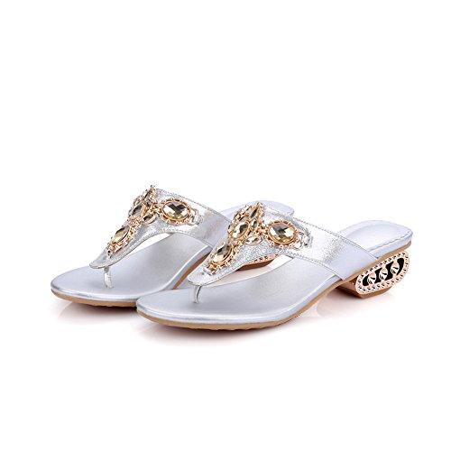 Silver with Flops Womens Lucksender Mid Flip Heel Fashion Rhinestone Sandals wqTwSz7Anx